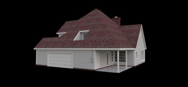 Визуализация классического американского загородного дома. 3d иллюстрации.
