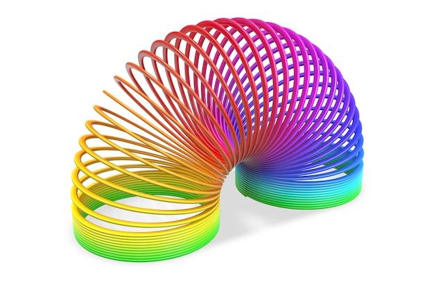分離されたおもちゃのプラスチックのカラフルなレインボースパイラルスプリングのレンダリング