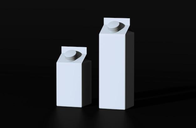 黒の背景に丸ネジプラスチックキャップ付きミルクの白いカートンパッケージのレンダリング