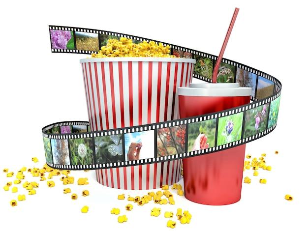 Render popcorn and drink