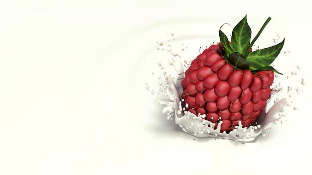 Render raspberry falls into milk