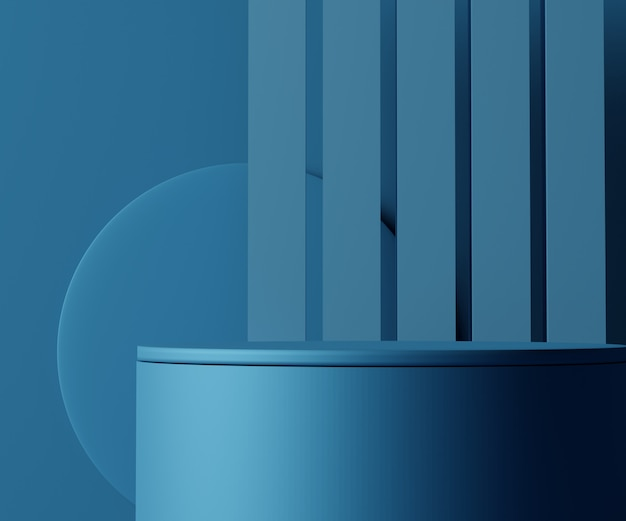 Render scene of classic blue podium scene for display products and cosmetic advertising