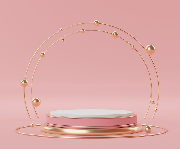 Render scene of geometric minimal shapes and podium