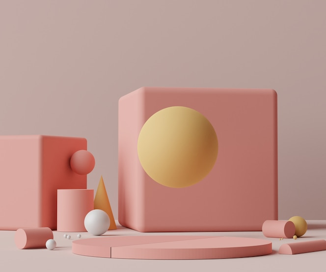 Render scene of minimal podium scene for display products and cosmetic advertising