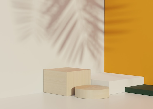 Render scene of minimal podium with shadow of palm leaves scene