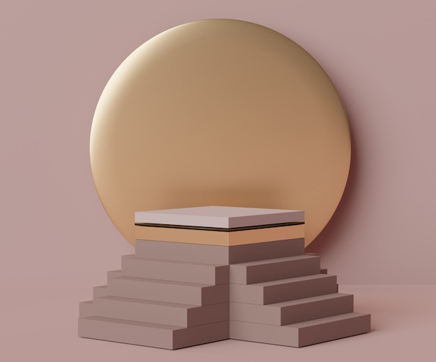 Render scene of minimal stairs podium scene for display products and cosmetic advertising