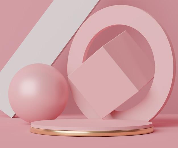 디스플레이 제품 및 화장품 광고를위한 최소 연단 장면 렌더링 장면