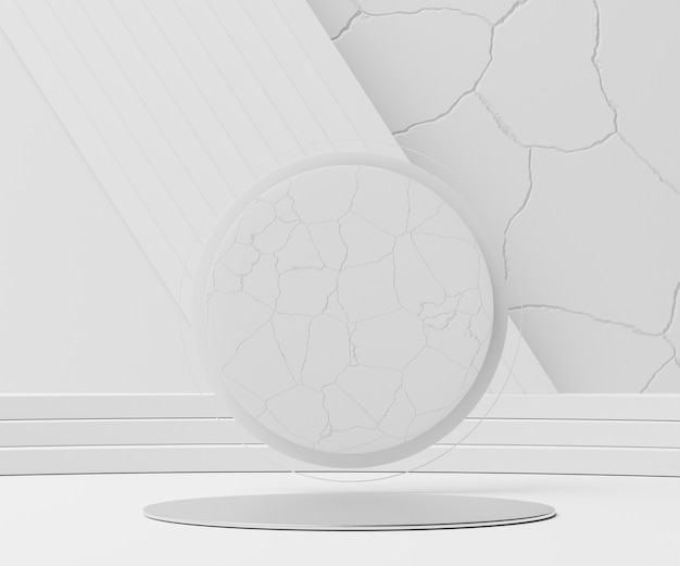 Render scene of white marble cracked minimal podium scene for display products