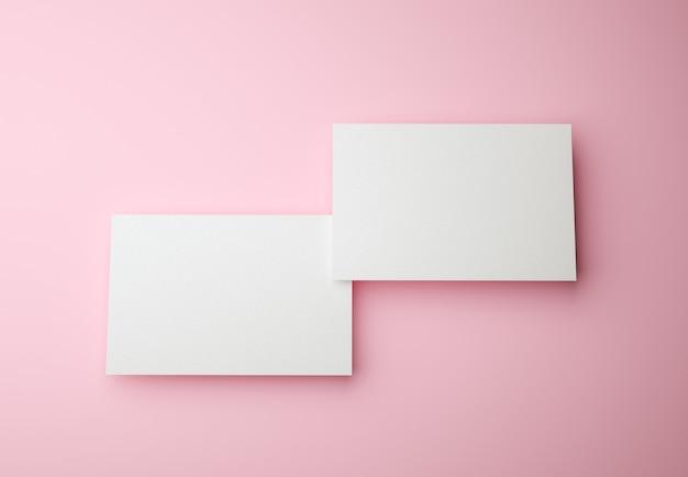 분홍색 및 브랜드 정체성 개념에 두 개의 명함 렌더링
