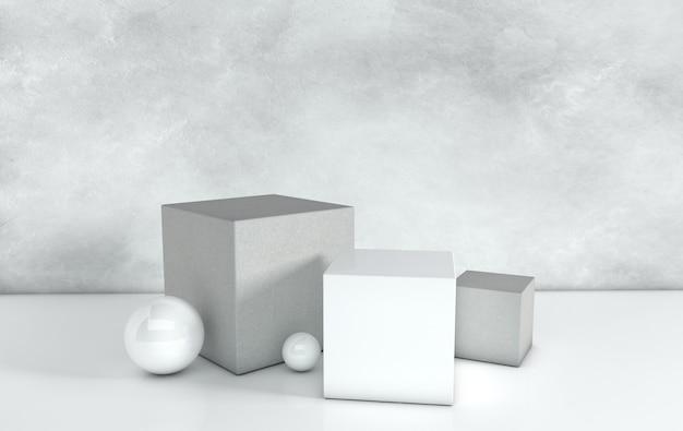 Rendered geometric shapes podium platforms for product presentation