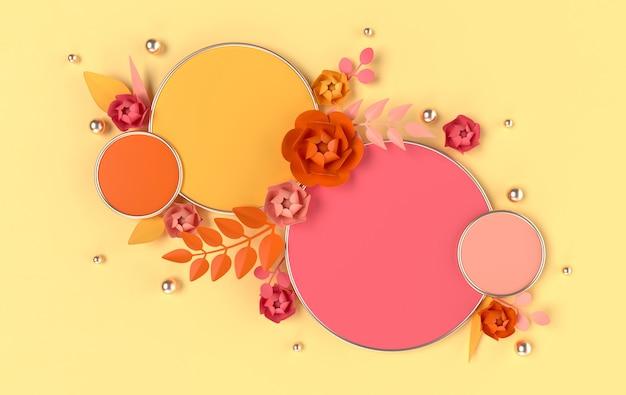 製品プレゼンテーションのための花と葉でレンダリングされた幾何学的形状の表彰台