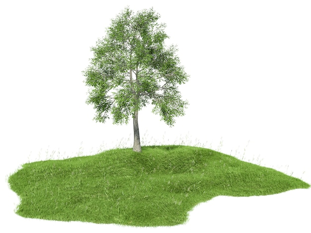 Rendered illustration of an island with tree floating