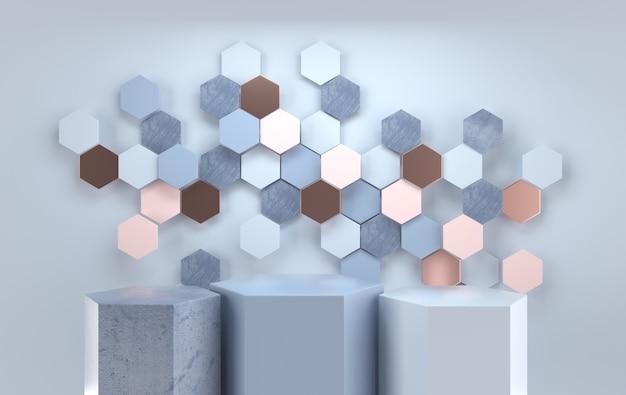 Оформлена студия с подиумом геометрических форм для презентации продукции