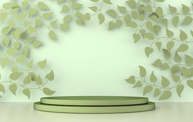 春の枝と葉と表彰台のあるレンダリングされたスタジオ