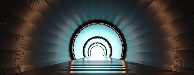Визуализация 3d подсветкой коридора абстрактного будущего космического туннеля.