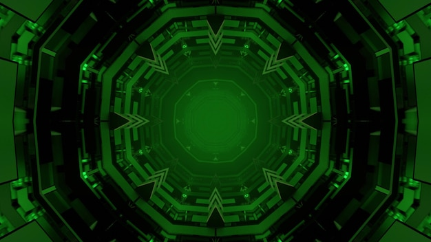Rendering 3d illustration of abstract green spherical shapes forming ornamental geometrical corridor on black background