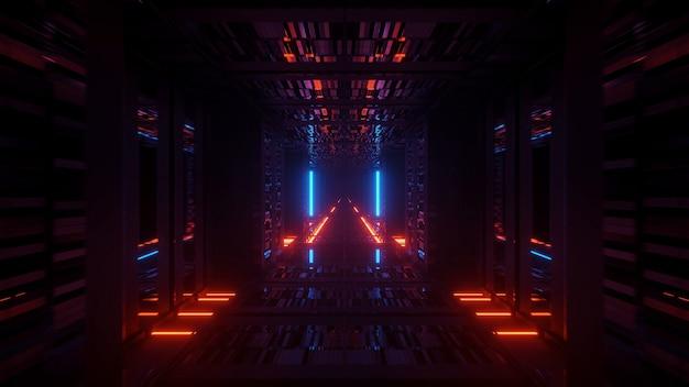 Визуализация абстрактного футуристического фона со светящимися неоновыми синими и оранжевыми огнями