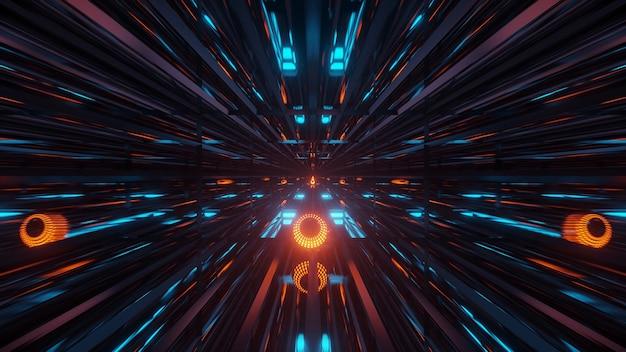 輝くネオンブルーグリーンとオレンジのライトで抽象的な未来的な背景をレンダリングします