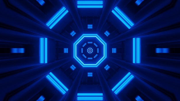 Визуализация абстрактного футуристического фона со светящимися неоновыми синими огнями