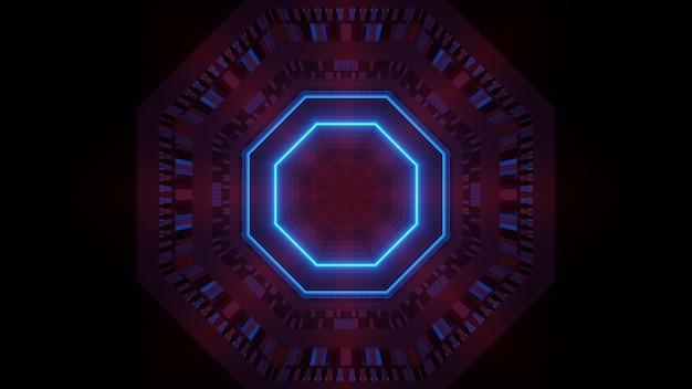 輝くネオンブルーのライトで抽象的な未来的な背景をレンダリング