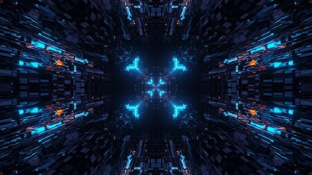 Визуализация абстрактного футуристического фона с неоновыми огнями