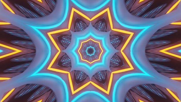 輝くネオンライトで抽象的な未来的な背景をレンダリングする