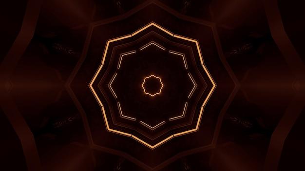 빛나는 네온 오렌지 조명으로 추상 미래의 배경 렌더링