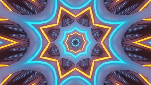 Rendering abstract futuristic background with a glowing neon lights