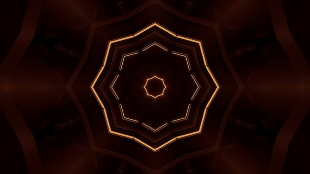 Rendering abstract futuristic background with a glowing neon orange lights