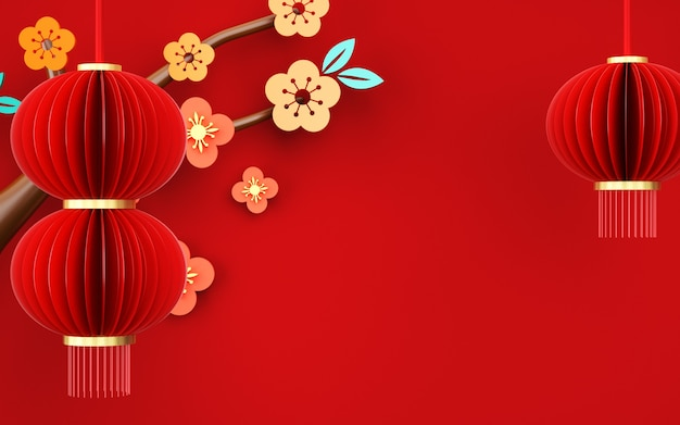 Rendering of abstract red background with chinese style decorations