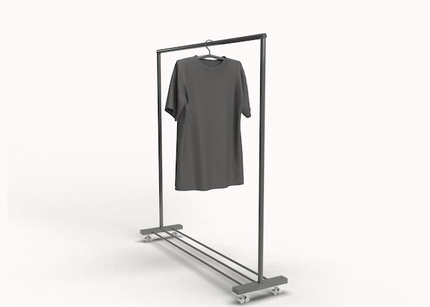 ハンガーに空白の黒いtシャツをレンダリング