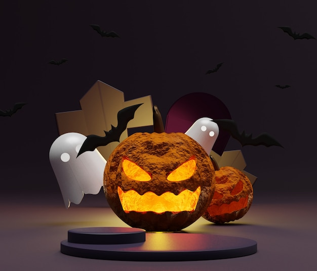 Rendering of blank podium with halloween scene for mock up and product display
