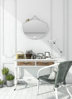 Rendering classic white room with make up table