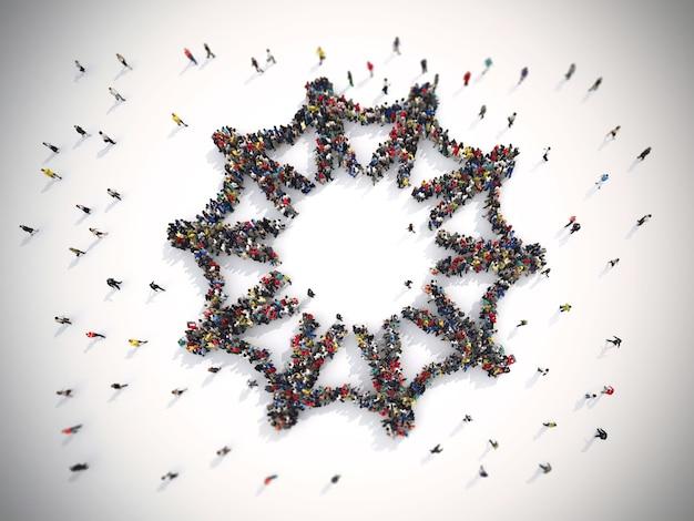 세계에서 연대의 상징을 형성하는 사람들의 군중을 렌더링