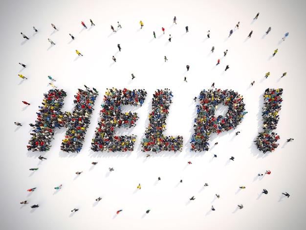 ヘルプという言葉を形成するために団結した人々の群衆をレンダリングする