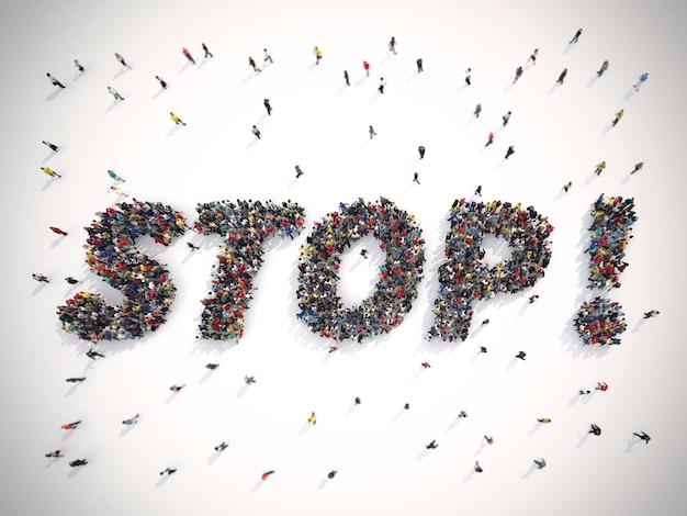 Rendering crowd of people united forming the word stop