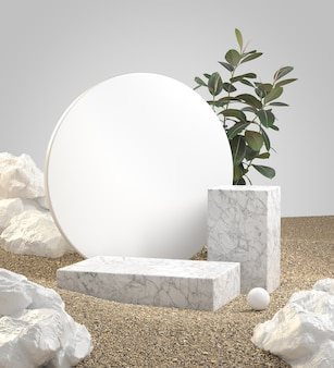 Rendering  double white marble podium on pebble sand ground