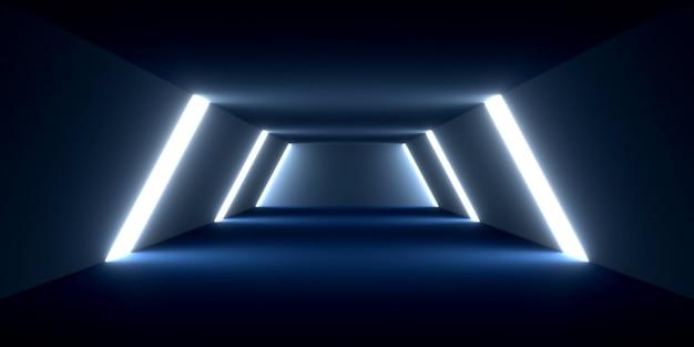 空の廊下をレンダリングしたり、光の効果でインテリアデザインを構築したりする