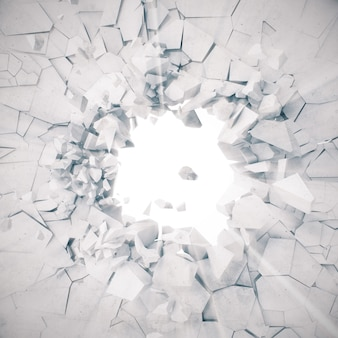 렌더링, 폭발, 깨진 콘크리트 벽, 금이 지구, 총알 구멍, 파괴, 볼륨 광선 추상.