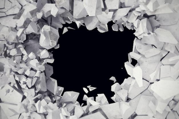 렌더링, 폭발, 금이 콘크리트 벽, 총알 구멍, 파괴, 추상.
