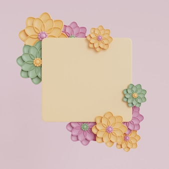 Rendering of frame mockup with colorful flowers.spring