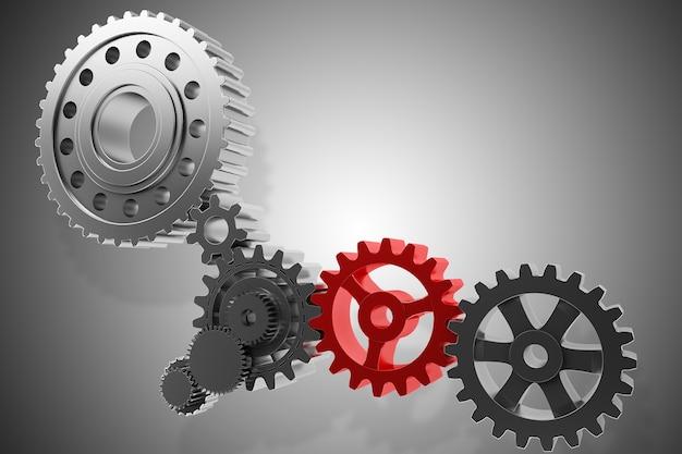 Механизм зубчатой передачи рендеринга вращается вместе