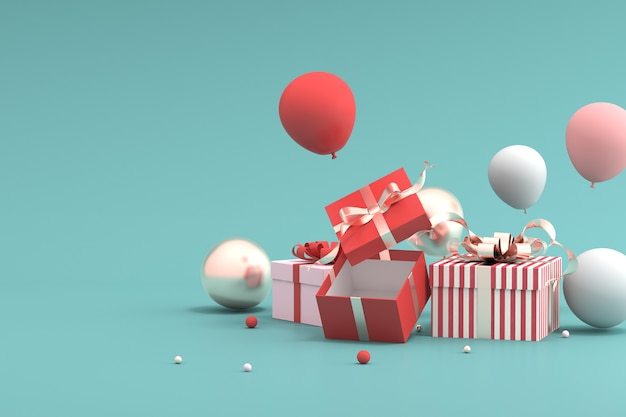 Rendering of gift box and balloons