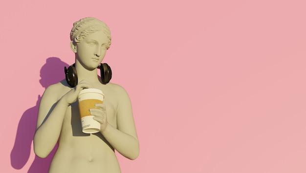 음악을 들으면서 커피를 마시는 여신 최면 렌더링