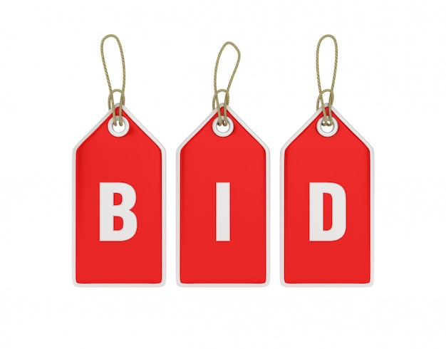 Rendering of hanging shopping price tag bid