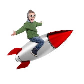 Rendering of happy child sitting on a missile