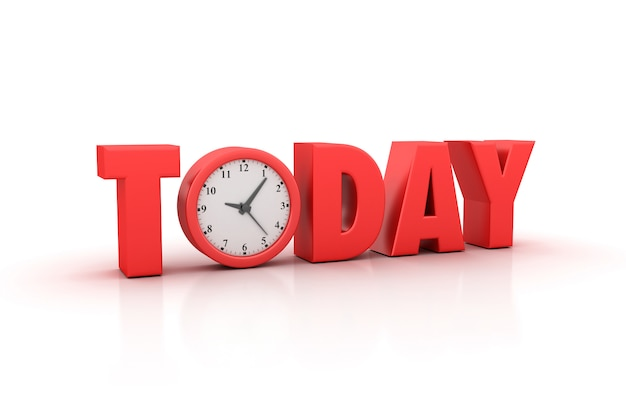 Rendering illustation of today word with clock