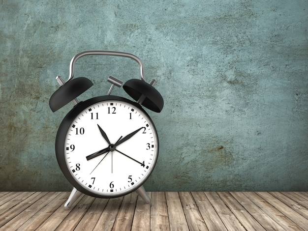 Rendering illustration of alarm clock on concrete wall