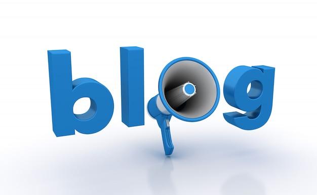 Rendering illustration of blog word with megaphone