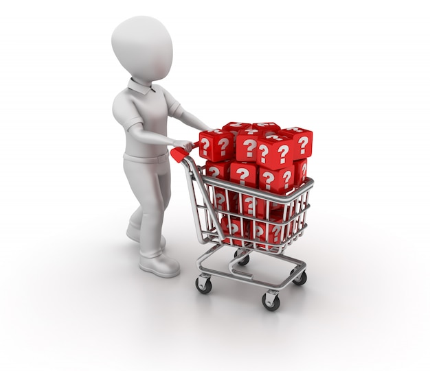 Rendering illustration of cartoon business character with shopping cart and question blocks